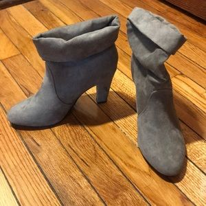 Gray suede boots.